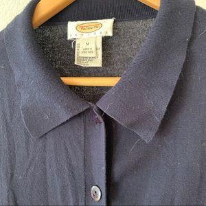 Talbots Tops - Collared Navy Cardigan